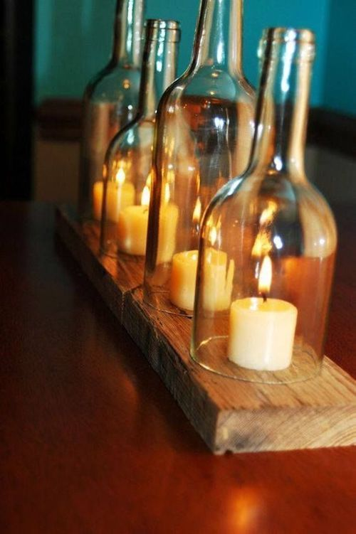 Original bottled candles table centerpiece.