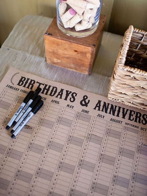 Use a calendar and let the guests mark their birthday or anniversary by leaving a note. Photographer: Robyn Navarro Photography.