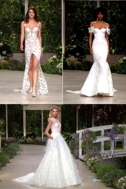Esta colección de Pronovias tiene de todo. Corrine para las novias mas osadas, un vestido de novia de guipur. Hechizo, con detalle de flores en los hombros caídos. Carey, top ilusión, falda ball gown y mucha textura.