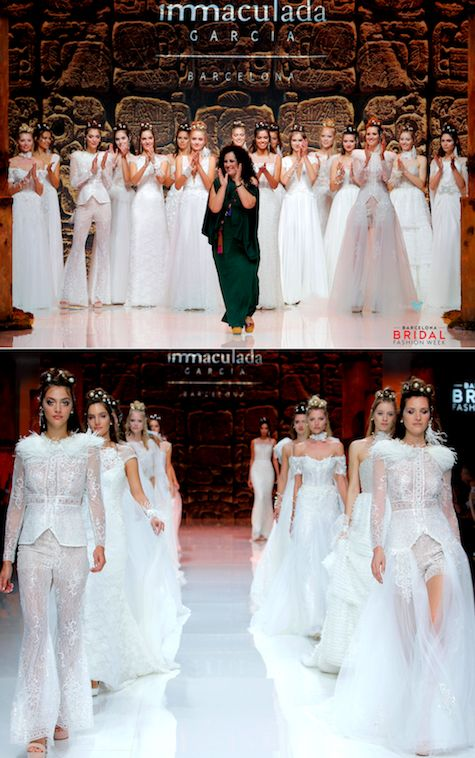 La colección de vestidos de novia 2019 de Inmaculada García te impactará con la pureza de su diseño. Crédito de fotografía: BBFW.