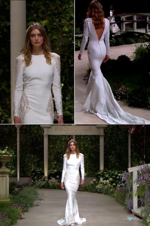 Condesa. Un vestido de novia ceñido con detalles en hilos plateados y mangas largas que no puede dejar de tener las famosas espaldas de Pronovias.