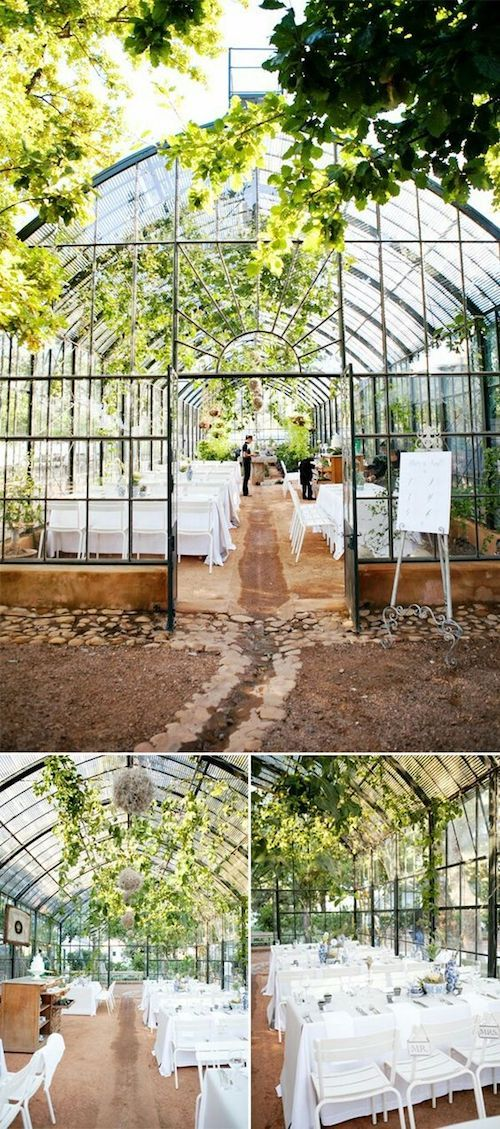 Leverage the nursery for a covered and swanky reception space. Conservatory of flowers, San Francisco.