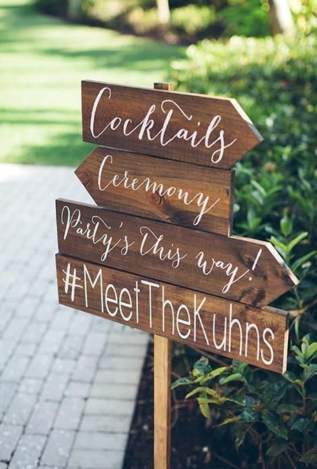 Directional wedding sign to let your guests know where is what, including your hashtag.
