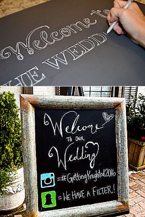 DIY chalkboard sign. Let your guests know they can start tagging you right away! Roswell Historic Cottage. Christian David Photo.