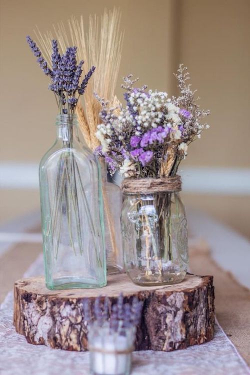 Close your eyes and breathe deep. It's the dried lavender on your rustic themed centerpieces!