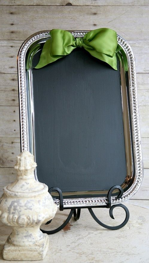 For a fancy chalkboard sign, use a silver tray from the Dollar Store by Soel Boutique.