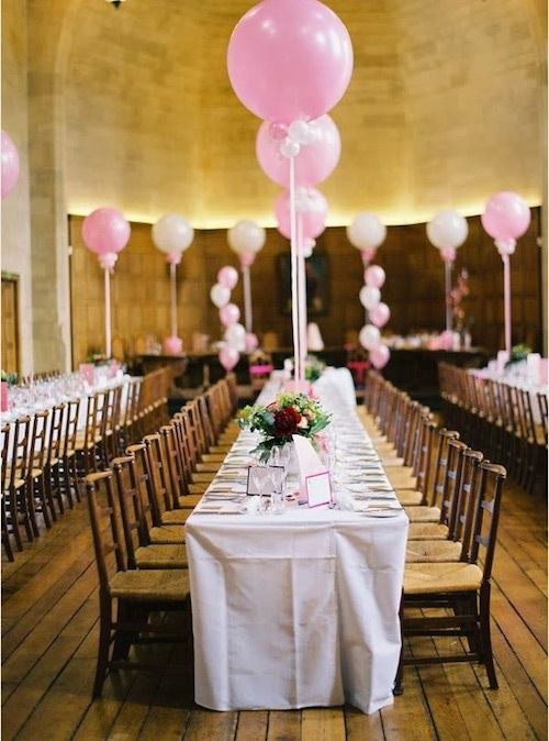 A touch of spring at every table with giant pink balloons!