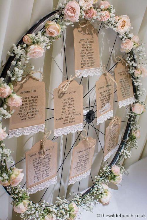 Aprovecha una rueda de bicicleta para hacer una corona gigante con rosas y gipsófilas para asignar las mesas. Cortesía de thewildebunch