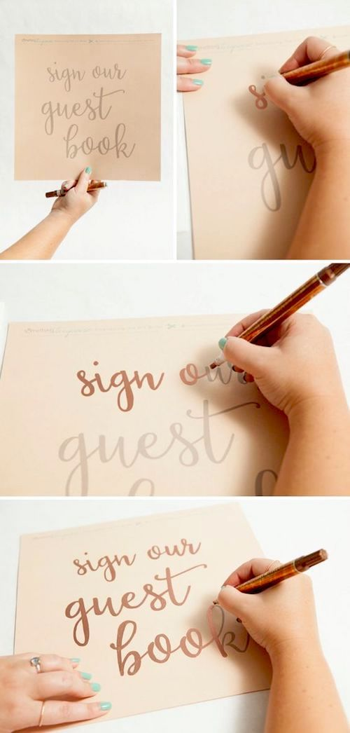 How to make gorgeous metallic wedding signs.