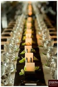 Candles, greenery and salt and pepper shakers for a long reception table. Joseph Mark Photography.