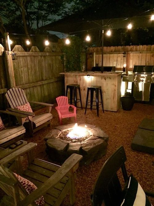 Plan a backyard wedding by an intimate fire pit area, home bar and Adirondack chairs.