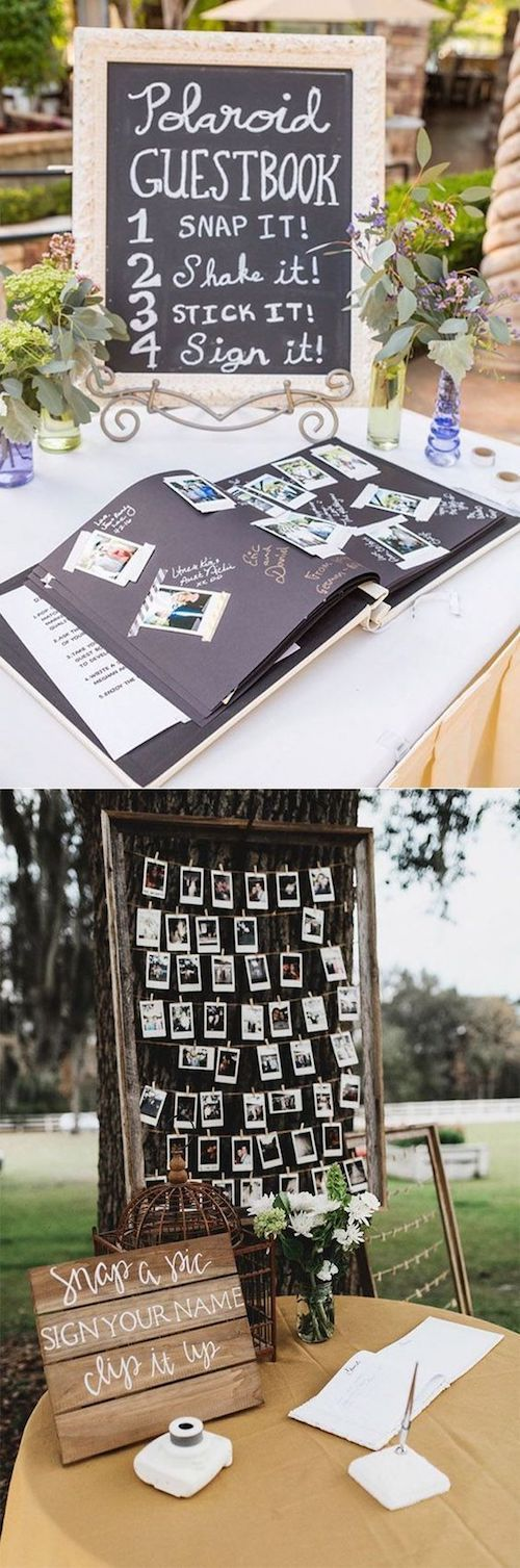 Polaroid wedding photo guest book ideas.
