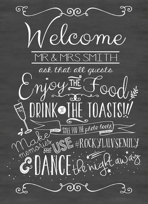 Personalize this printable welcome sign and give directions to your guests.