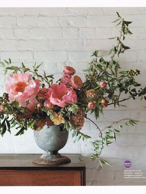 Summer flower centerpiece. Martha Stewart Weddings.