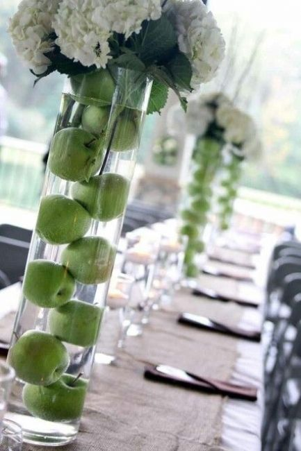 Tall summer centerpieces with apples and hydrangeas. Divine!
