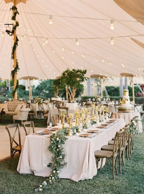 Turn a necessity into a TD backyard wedding decor. Tents do take up more space so tread carefully.
