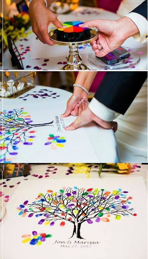 Unique wedding guest book ideas. Colorful thumbprints everywhere!