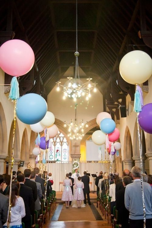 One awesome way to use balloons on your wedding day. Decorate the aisle.