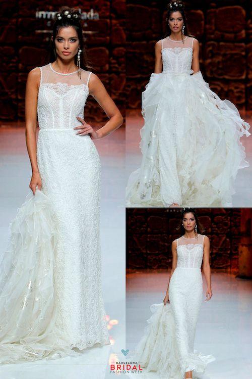 No es magia. Es la destreza y el diseño de Inmaculada García. Vestido con cola desmontable para novias de hoy.