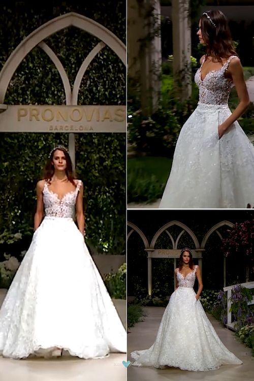 Soñado vestido de dos piezas con una falda corte princesa de Pronovias 2019.