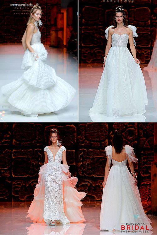 Fluidez en las faldas y un corte limpio y moderno no importa la temática de tu boda.
