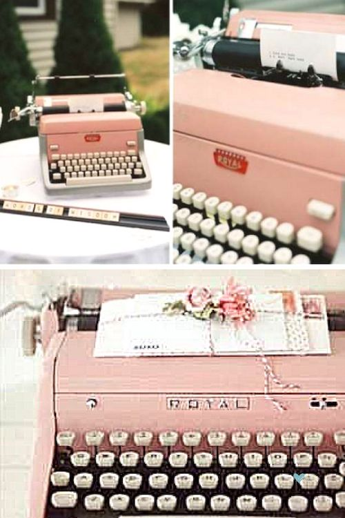 Typewriter for your guests to write your well-wishes. A vintage look like no other!