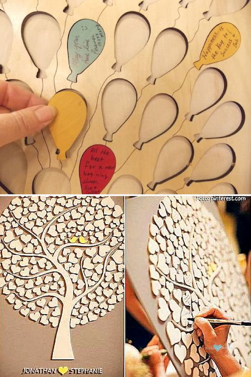Wedding guest book canvas with colorful balloons. Love the matching color of the heart and the birds for this wedding tree guestbook.