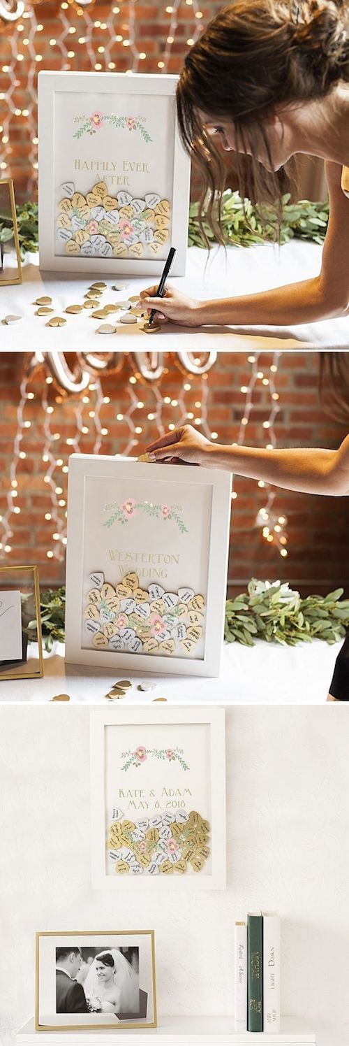 White shadow box guest book by my wedding reception ideas.