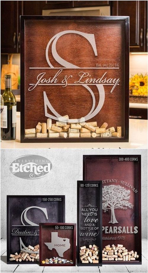 Winery weddings can leverage the theme and include quite an original guest book idea. Corks in a shadow box!