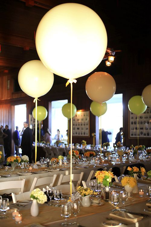 Yellow wedding balloon centerpiece ideas.