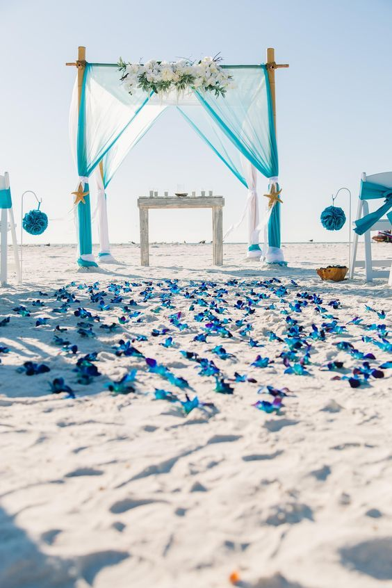 Jaw-dropping turquoise bamboo Chuppah with a blue orchid aisle to match by weddingbucketaisle.