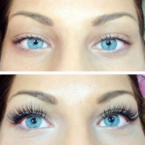 Before and after of a more permanent solution for eyelashes.