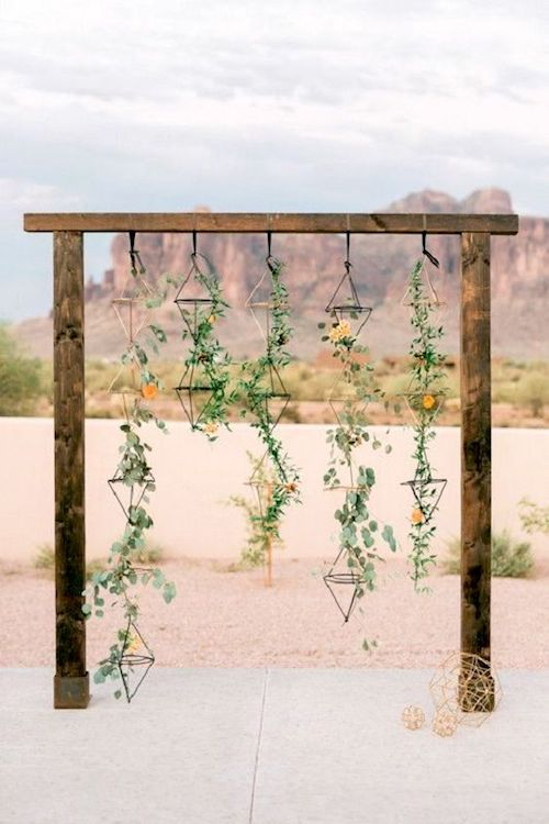 Whimsical modern and ultra chic ceremony arch and backdrop. Just picture your wedding day photos. Photo Source: Amy & Jordan Photography.
