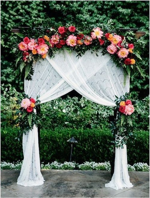 Unique floral wedding arch.