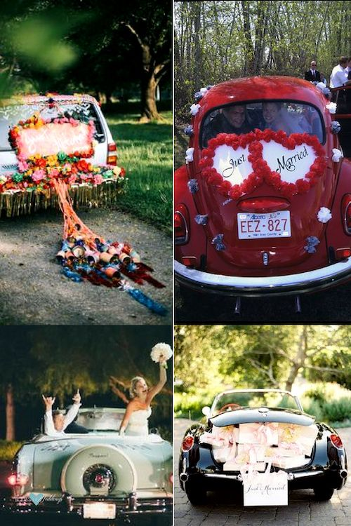 The best wedding getaway car ideas ever! Depart the ceremony in style! Photography by emilylblake. Pack the trunk with gifts and add a just married sign.