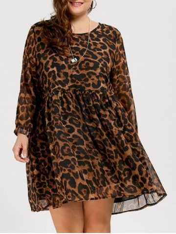 Chiffon leopard print plus size dress by Rosegal.
