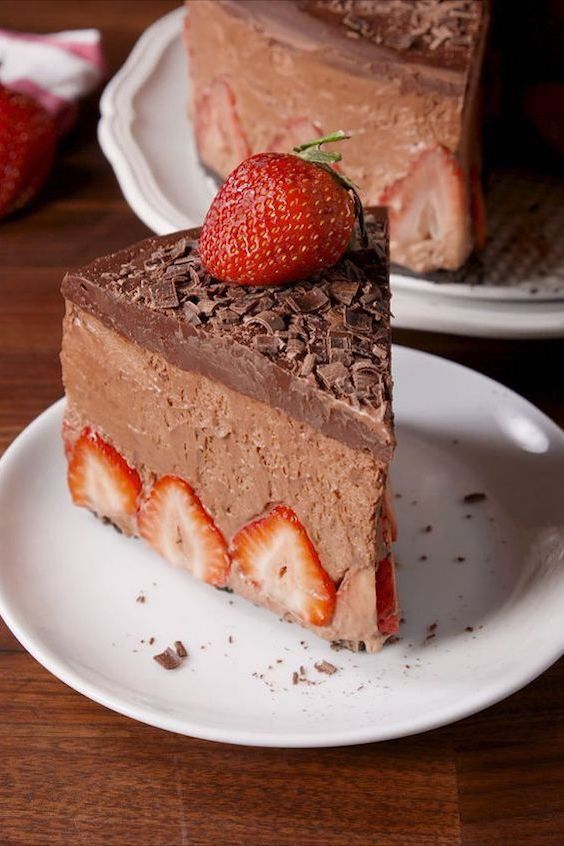 A classic winter wedding dessert: the decadent chocolate strawberry mousse cake.