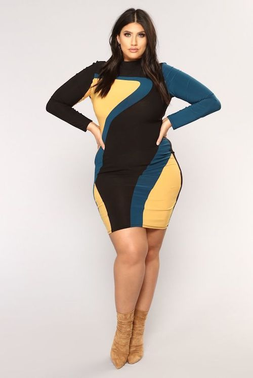 Long sleeve color block dresses are perfect for the plus figure!