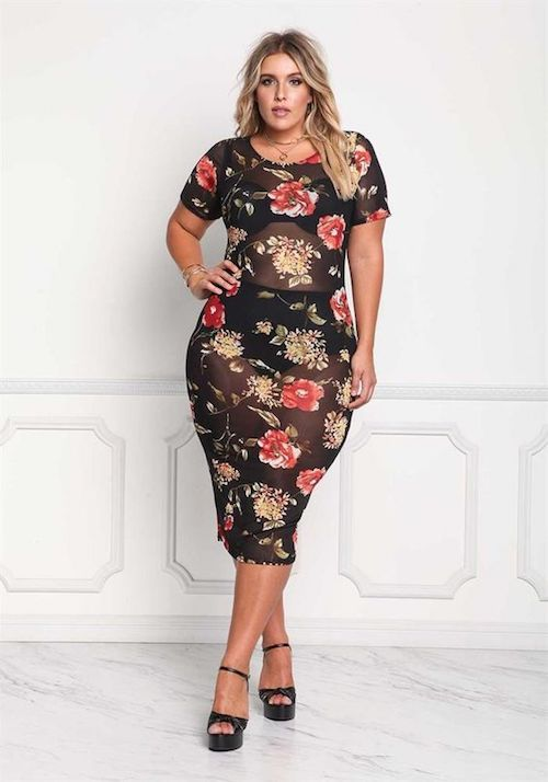 Dark floral pattern mesh midi dress by debshops.