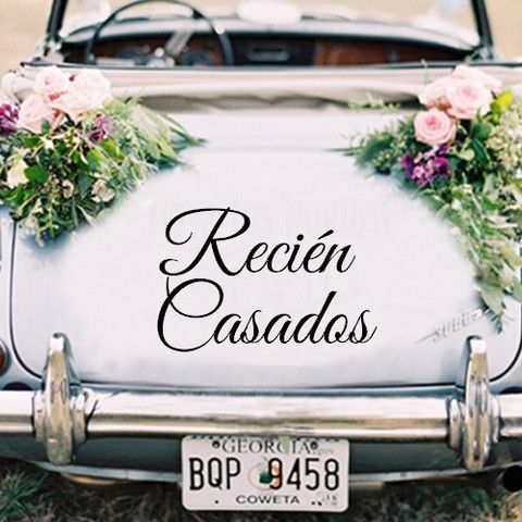 Nope, not paint but a decorative vinyl decal for the wedding getaway car. Cute, right?