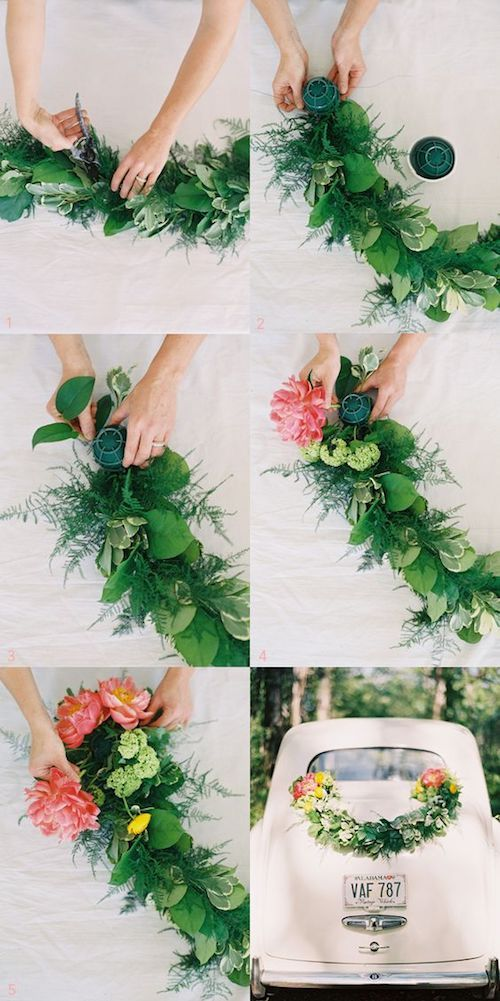 DIY a floral garland to decorate the wedding car.
