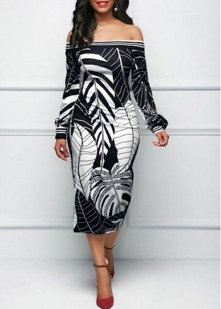 Off the shoulder leaf print black sheath dress by Iligal.