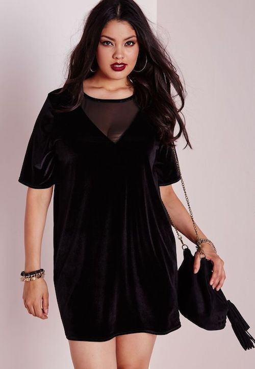 Velvet mesh T-shirt dress. Fab plus sized wedding guest dresses.