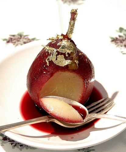 Poached pears In red wine a perfect winter wedding dessert. From: My French Kitchen.