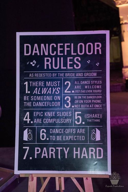 Reglas para la pista de baile de la boda más épica de todos los tiempos! Por The Big Fat Indian Wedding.