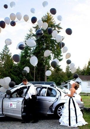 Fill a car with balloons for a very special getaway ride.