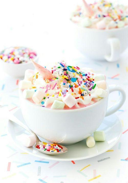 Unicorn hot chocolate with mini marshmallows. Yum!