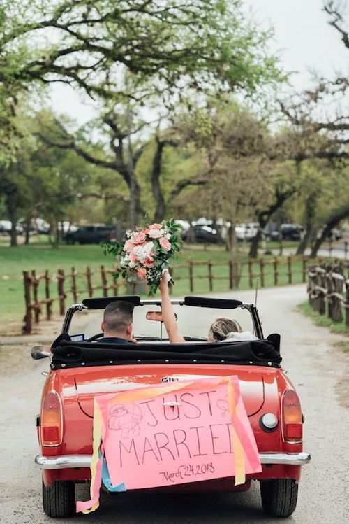 The wedding getaway car 41 pinterest worthy decoration ideas perfect vintage wedding car exit in austin texas by cypress falls events junglespirit Image collections