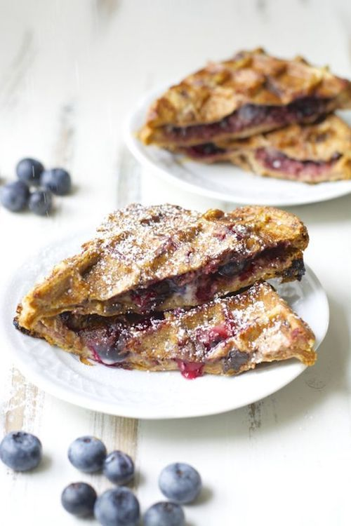 Looking for winter wedding dessert ideas? How about these blueberry cheesecake stuffed french toast waffles? Or a waffle bar? Yes! A waffle bar!