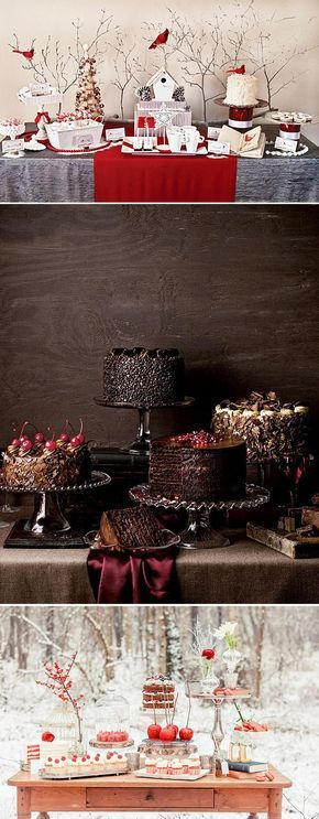 Mouthwatering winter wedding dessert table ideas.